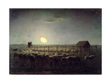 The Sheepfold, Moonlight, 1856-60 Giclee Print by Jean-François Millet