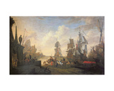 View of a Port in the Levant, 1670 Giclee Print by Hendrik van Minderhout