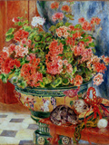 Geraniums and Cats, 1881 Giclee Print by Pierre-Auguste Renoir