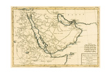Arabia, the Persian Gulf and the Red Sea, with Egypt, Nubia and Abyssinia, from 'Atlas De Toutes… Giclée-tryk af Charles Marie Rigobert Bonne