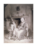 Interior with Old Woman and Boy, 1862 Giclee Print by Paul Soyer