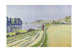 Herblay, La River Giclee Print by Paul Signac