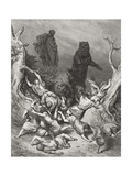 The Children Destroyed by Bears, Illustration from Dore's 'The Holy Bible', 1866 Giclee Print by Gustave Doré