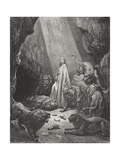 Daniel in the Den of Lions, Daniel 6:16-17, Illustration from Dore's 'The Holy Bible', Engraved… Giclee Print by Gustave Doré