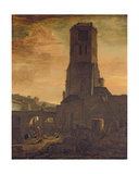 Washerwomen at the Foot of a Tower Giclee Print by Thomas Wyck