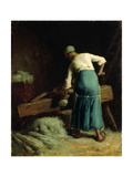 Breaking Flax, C.1850-51 Giclee Print by Jean-François Millet