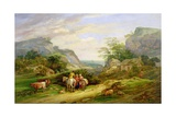 Landscape with Figures and Cattle Giclee Print by James Leakey