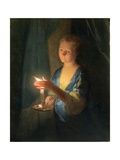A Lady Holding a Candle Giclee Print by Godfried Schalken Or Schalcken