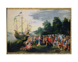 The Disembarkation of Cleopatra (69-30 BC) at Tarsus Giclee Print by Frans Francken the Younger