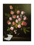 Tulips, Yellow and Pink Roses in a Glass Vase Giclee Print by Jan Philip Van Thielen