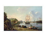 Ship under Sail in the Harbour at Port Mahon, Minorca Giclee Print by Anton Schantz