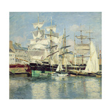 Squared - Riggers in Le Havre, 1886 Giclee Print by Johannes Martin Grimelund