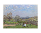 Children Playing in the Meadow Giclee Print by Alfred Sisley