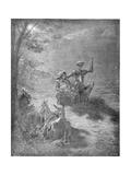 A Nocturnal Discourse, from 'Don Quixote De La Mancha' by Miguel Cervantes (1547-1616) Engraved… Lámina giclée por Gustave Doré