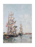 Three-Masted Boats at the Quay in Deauville Harbour, C.1888-89 Giclee Print by Eugène Boudin