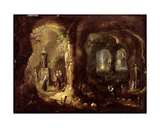 Grotto with Statues and Numerous Figures Worshipping Idols (St Simeon Stylites), C.1640 Giclee Print by Rombout Van Troyen