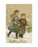 Children Playing in the Snow - Collecting Holly Giclee Print by George Goodwin Kilburne