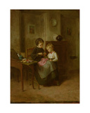 The Sewing Lesson Giclee Print by Theophile Emmanuel Duverger