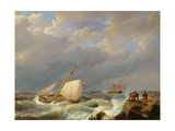 Vessels on a Lee Shore in a Gale of Wind, 1844 Giclee Print by Johannes Hermanus Koekkoek