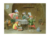 A Tavern Interior with Monkeys Drinking and Smoking Giclee Print by Ferdinand van Kessel