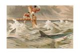 """Blue Shark, Plate from """"Brehms Tierleben: Allgemeine Kunde Des Tierreichs"""", Vol.8, P.438,… Giclee Print by German School"""