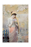 Study of a Girl with a Bouquet of Flowers in a Garden Giclee Print by Robert Fowler