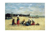 Berck, Fisherwomen on the Beach, 1876 Giclee Print by Eugène Boudin