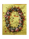 Garland of Flowers on a Gilded Background Giclee Print by Bartolomeo Perez