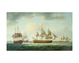 Merchant Vessels Off the Coast, 1783 Giclee Print by Thomas Luny