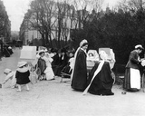 Nannies in a Public Garden in Paris Photographic Print by Charles Delius