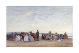 Beach Scene Near Trouville, C.1863-66 Reproduction procédé giclée par Eugène Boudin
