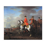 King George II (1683-1760) at the Battle of Dettingen, with the Duke of Cumberland and Robert,… Giclee Print by John Wootton