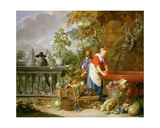 A Maid Washing Carrots at a Fountain with Two Gardeners at Work Giclee Print by Nicolaas or Nicolaes Muys