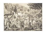 Market at Luang Prabang, Laos, Illustration from 'Atlas Du Voyage D'Exploration De Indo-Chine' by… Giclee Print by Louis Delaporte