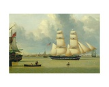 The Brig, 'Helen', Off Hull, C.1837 Giclee Print by John Ward