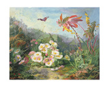 Wild Flowers and Butterfly, 1858 Giclee Print by Jean-Marie Reignier