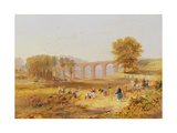 Corby Viaduct, the Newcastle and Carlisle Railway, 1836 Giclee Print by John Wilson Carmichael