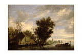 River Scene with a Ferry Boat Giclee Print by Salomon van Ruisdael or Ruysdael