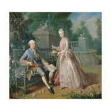 Louis Jean Marie De Bourbon, Duc De Penthievre with His Daughter, Louise-Marie Adelaide Giclee Print by Jean Baptiste Charpentier
