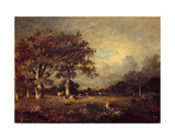 Landscape with Cows, 1870s Giclee Print by Jules Dupre