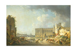 Clearing the Colonnade of the Louvre, 1764 Giclee Print by Pierre Antoine Demachy