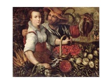 A Market Scene with Fruit and Vegetable Sellers Giclee Print by Frederick van Valkenborch