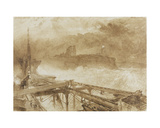 Study for 'Blue Lights' Tynemouth Pier - Lighting the Lamps at Sundown Giclee Print by Alfred William Hunt