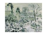 Effect of Snow with Cows at Montfoucault, 1874 Reproduction procédé giclée par Camille Pissarro
