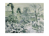 Effect of Snow with Cows at Montfoucault, 1874 Giclee Print by Camille Pissarro