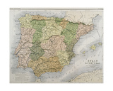 A Map of Spain and Portugal, C.1869 Giclee Print by A.K. Johnston