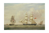 The Black Ball Line Brig, 'Wupper' Off Spurn Head, 1849 Giclee Print by John Ward