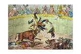 The Spanish Bull Fight, or the Corsican Matador in Danger, Published by Hannah Humphrey in 1808 Giclee Print by James Gillray