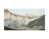 Excavations of a Thick Stratum of Lava Which Ran into the Sea During the Eruption of Mount… Giclee Print by Pietro Fabris