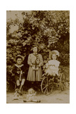 Children with Dolls, Rocking Horse and Tricycle, C.1890 Photographic Print